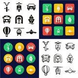 Transport All in One Icons Black & White Color Flat Design Freehand Set. This image is a vector illustration and can be scaled to any size without loss of Stock Image