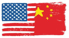 United States of America Flag & China Flag Vector Hand Painted with Rounded Brush. This image is a vector illustration and can be scaled to any size without Stock Image