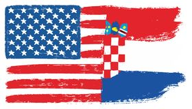 United States of America Flag & Croatia Flag Vector Hand Painted with Rounded Brush. This image is a vector illustration and can be scaled to any size without Royalty Free Stock Photography