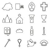 Vatican Icons Thin Line Vector Illustration Set Stock Photography