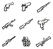 Weapons Icons Freehand Royalty Free Stock Images