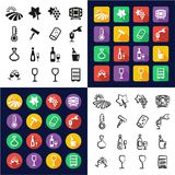 Wine All in One Icons Black & White Color Flat Design Freehand Set Royalty Free Stock Photo