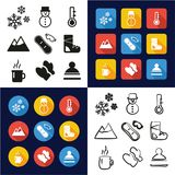 Winter All in One Icons Black & White Color Flat Design Freehand Set Stock Images