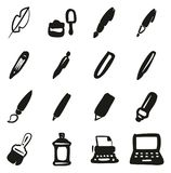 Writing Tools Icons Freehand Fill royalty free illustration