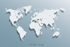 Image of a vector world map. Blank Grey similar World map isolated on white background. Best popular World map Vector template. Flat Earth Graph World map Royalty Free Stock Image