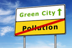 Concept vert de panneau routier de ville Image libre de droits