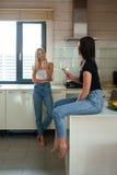 Image verticale de deux femmes parlant dans la cuisine Photo stock