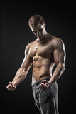 Image of very muscular man posing with naked torso Royalty Free Stock Photo