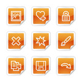 Image viewer 2 web icons. Vector web icons, orange glossy sticker series, V2 Stock Image