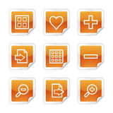 Image viewer web icons. Vector web icons, orange glossy sticker series, V2 Royalty Free Stock Photography