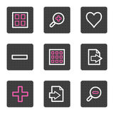 Image viewer web icons. Vector web icons, grey square buttons series Stock Image