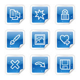 Image viewer web icons, blue sticker series set 2. Vector web icons, blue glossy sticker series royalty free illustration