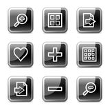 Image viewer web icons, glossy buttons series. Vector web icons, black square glossy buttons series Stock Photo