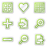 Image viewer web icons, green contour sticker Stock Photography