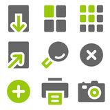 Image viewer web icons, green grey solid icons Stock Images