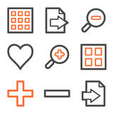 Image viewer web icons, orange and gray contour. Vector web icons, orange and gray contour series Royalty Free Stock Photo