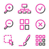 Image viewer web icons, pink contour series Stock Images
