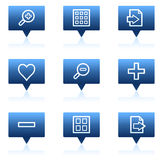 Image viewer web icons set 1, blue speech bubbles Stock Photography