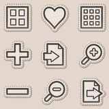 Image viewer web icons set 1, brown sticker Stock Image