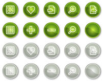 Image viewer web icons set 1, green circle buttons Stock Images