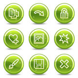 Image viewer web icons set 2. Vector web icons, green glossy circle buttons series Stock Photography
