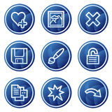 Image viewer web icons set 2, blue circle buttons. Vector web icons, blue circle buttons series Royalty Free Stock Images