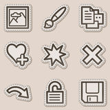 Image viewer web icons set 2, brown sticker Stock Photos