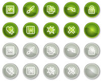 Image viewer web icons set 2, green circle buttons Stock Image