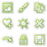 Image viewer web icons set 2, green sticker Stock Photography