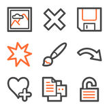 Image viewer web icons set 2, orange-gray contour Royalty Free Stock Photos