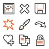 Image viewer web icons set 2, orange-gray contour Royalty Free Stock Photos