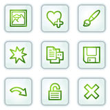 Image viewer web icons set 2, white square buttons. Vector web icons set. Easy to edit, scale and colorize Stock Photography