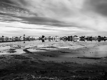 Image of a village of the Ebro Delta called Muntells in black and white royalty free stock photo