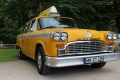 An image of a vintage, american taxi royalty free stock images