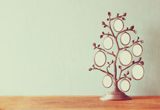 Image of vintage antique classical frame of family tree on wooden table. Royalty Free Stock Photos
