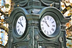 An Image of a vintage outdoor clock. Classic, time - abstract Stock Photos