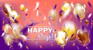Image violette de partie de disco avec les ballons matallic et déjouer des confettis illustration de vecteur