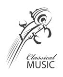 Image of violin. Abstract monochrome illustration of violin with text Stock Image