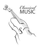 Image of violin. Abstract monochrome illustration of violin with text Royalty Free Stock Images
