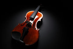 Image of violin music instrument on black background Stock Photography