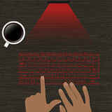 Image virtual laser keyboard with the projection on a wooden surface. hands on the keyboard image and a cup of coffee. Vector Royalty Free Stock Photos