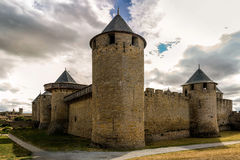 Image of wall in Carcassonne fortified town in France. Stock Image