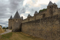 Image of wall in Carcassonne fortified town in France. Stock Photo