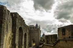 Image of wall in Carcassonne fortified town in France. Royalty Free Stock Photo