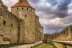 Image of wall in Carcassonne fortified town in France. Stock Photography