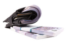 Image of wallet with euros. On white Royalty Free Stock Photos