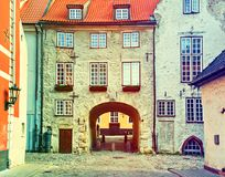 Sweden gate in old Riga, Latvia Royalty Free Stock Photo