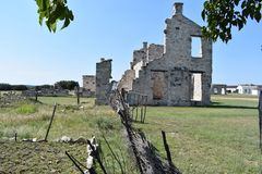 Fort McKavett ruins in Central Texas. This image was taken at Fort McKavett in Central Texas Sept of 2017 Royalty Free Stock Image