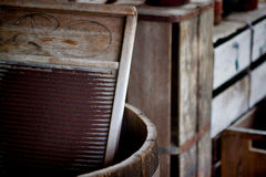The Washboard. Image of a washboard in a barrel at the Fort Christmas Historical Park; Christmas Florida Stock Photo