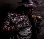 Image of watchmaker in bright fantasy stylization. Royalty Free Stock Photo
